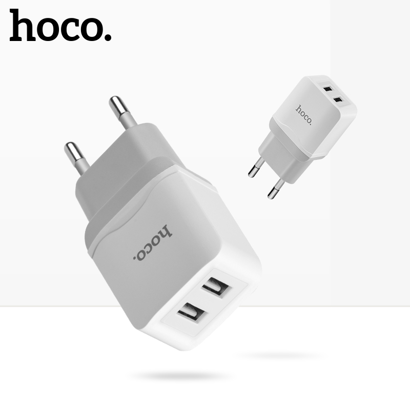 HOCO Dual USB Charger For Mobile Phone EU Charger Plug Travel Wall Charger Adapter For iPhone iPad Samsung Xiaomi Phone Charger