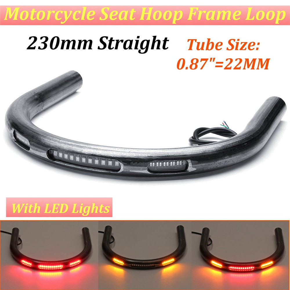 LED Turn Signal Brake Light For Honda Suzuki Flat Rear Seat Frame Hoop Loop
