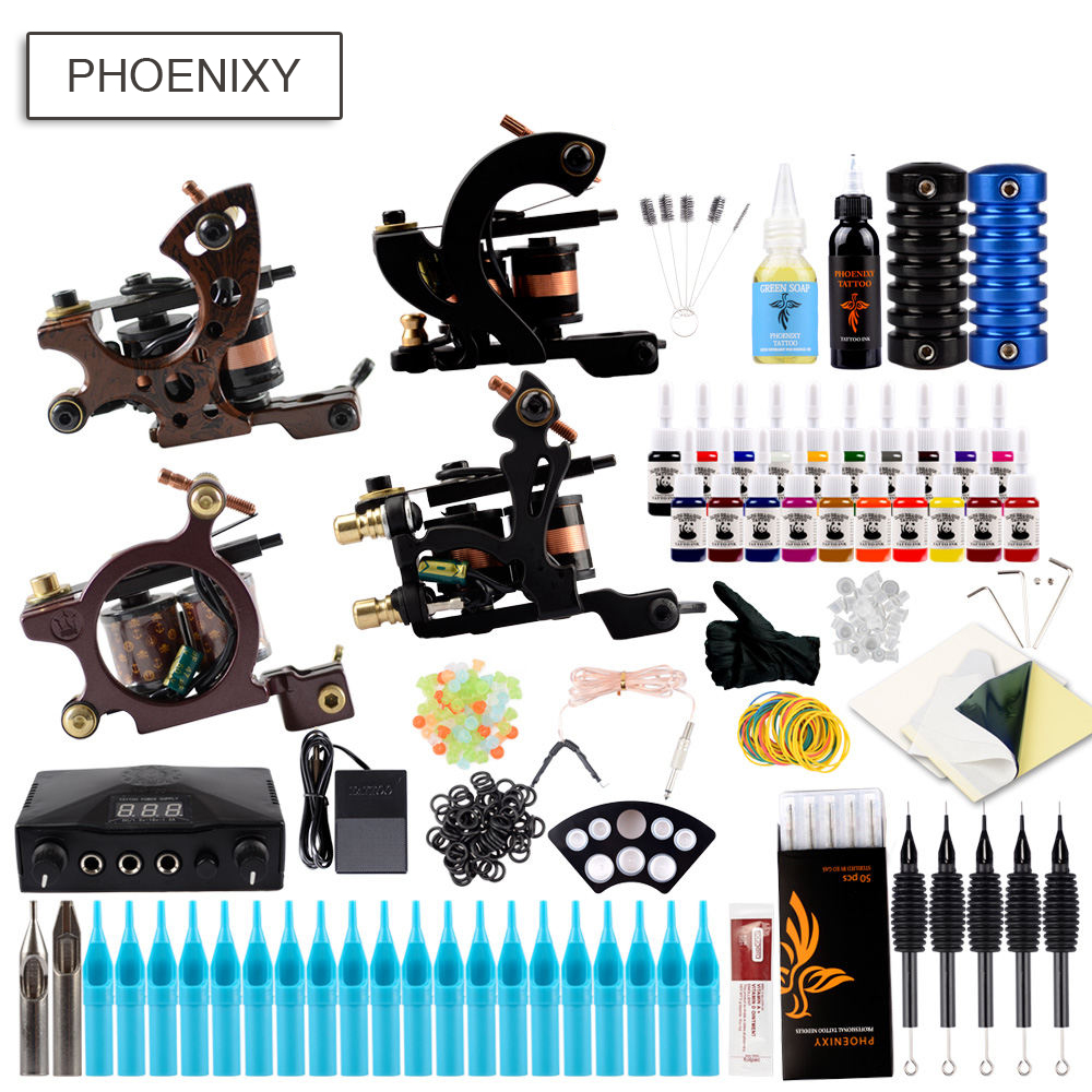 Professional Tattoo Kit 4 Machine Guns Set Permanent Tattoo Pigment LCD Power Supply Makeup Body Art Complete Tattoo Machine SetProfessional Tattoo Kit 4 Machine Guns Set Permanent Tattoo Pigment LCD Power Supply Makeup Body Art Complete Tattoo Machine Set