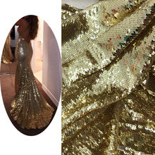 Luxuriant Golden Fish Scales Sequin Fabric Designer DIY Fishtail Dress Material Stretch Mesh