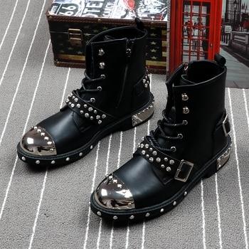 CuddlyIIPanda Men Fashion Ankle Boots Luxury Brand Men Rivets Punk Boots Spring Autumn Men Metal Boots High Top Men Sneakers