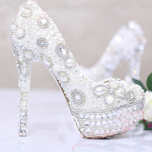 White Pearls Crystal Luxury Wedding Bridal Dress Shoes Closed Toe Prom Pumps Shoes