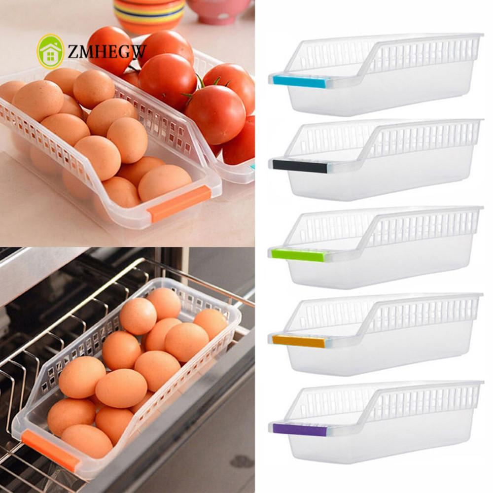Hot Sale Fridge Storage Box Kitchen Refrigerator Space Saver Organizer Slide Shelf Rack Rack Holder Handle Design Storage Basket