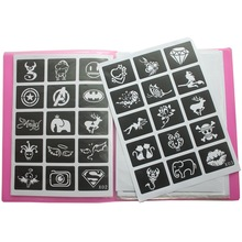 446 pcs / Lot Reusable Sticker Tattoo Stensil Folder, Template lukisan Airbrush Glitter Henna Tattoo Stencil Set Album Gaya Tetap