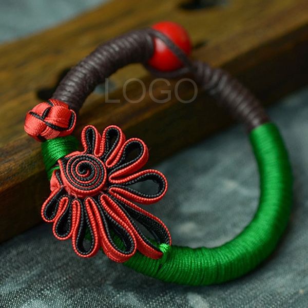 New Arrival Women Bracelet with Knitted Flower Chinese Knot Durable Wax Cord Hand ChainTop
