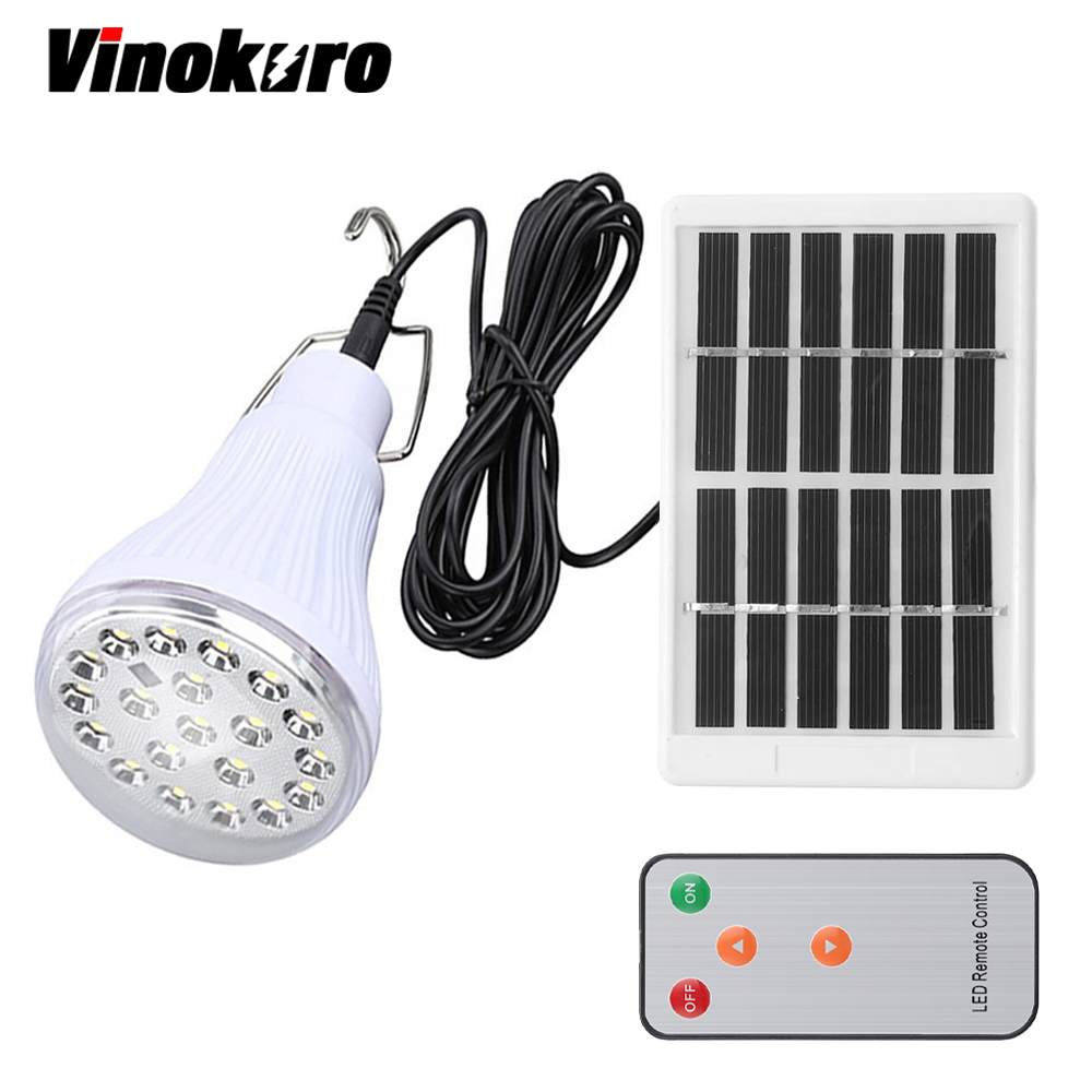 Vinokuro Lighting Dimmable DC6V 20 Led 2.5W Remote Control Solar Lamp Emergency Outdoor Lighting Camping Lights 1W Solar Panel