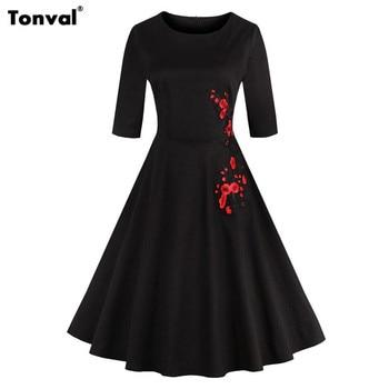 85571d602 Tonval Vintage bordado vestido negro otoño mujeres medio manga Floral  vestido Retro Rockabilly una línea de vestidos de algodón