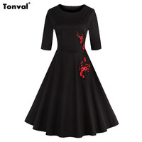 Tonval Autumn Winter Women 2 3 Sleeve Embroidery Dress Retro Vintage Rockabilly Cotton Black And White