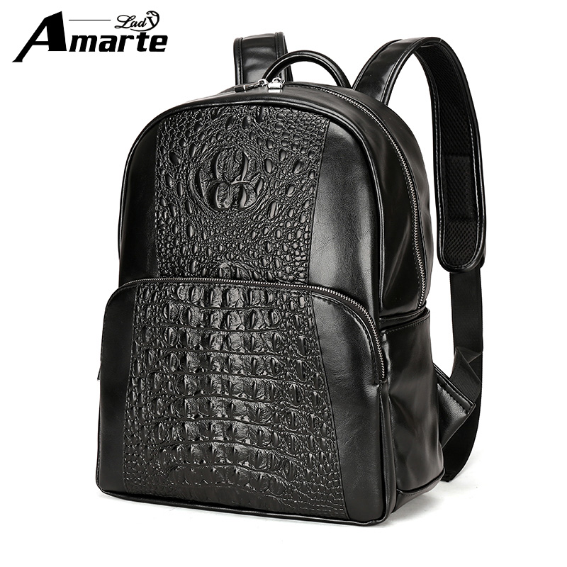 2018 Vintage Men PU Leather Backpacks School Bags for Teenagers Boys Large Capacity Laptop Backpack Fashion Men Backpack new arrival vintage men pu leather backpacks large capacity zipper solid backpack for teenagers high quality black shoulder bags
