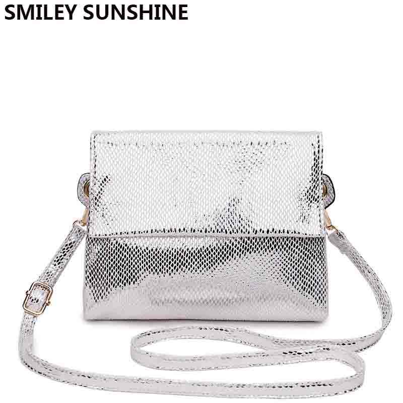 Luxury Silver Messenger Bag Womens Shoulder Bag Handbag Ladies Leather Hand bags Small Clutch Purse Crossbody Bag for Women 2018