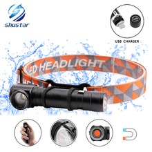 Multi-function rechargeable LED headlamp led flashlight T6 waterproof headlight Can be used as a and work light