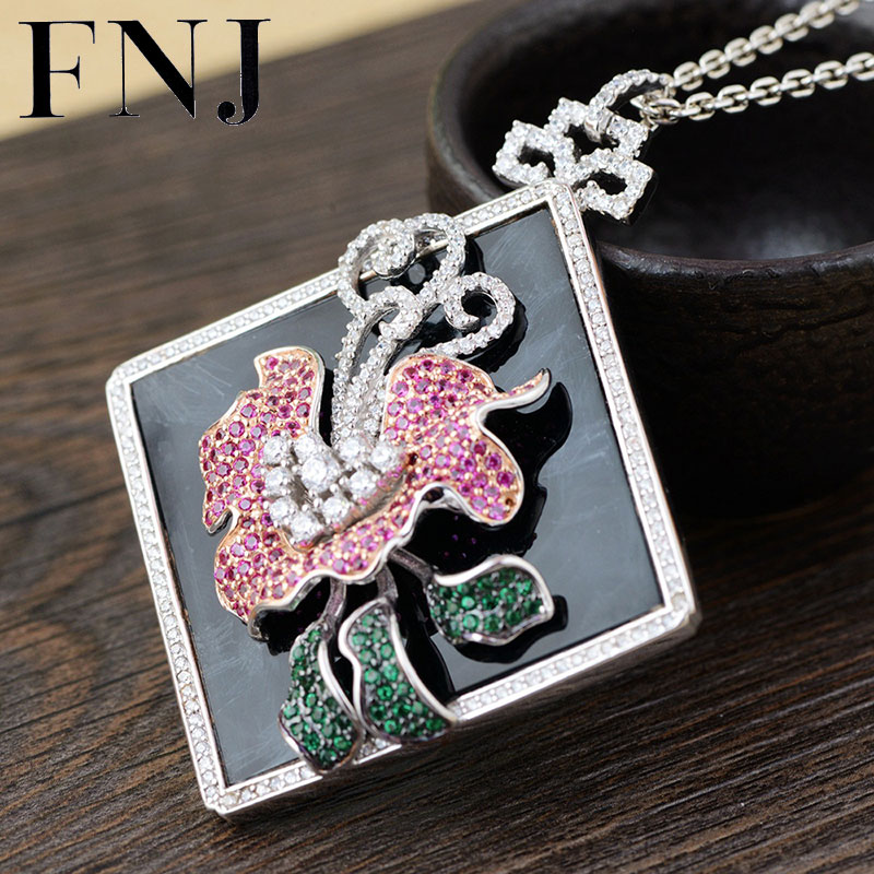 FNJ 925 Silver Flower Pendant Black Stone Hang Colorful Crystal Original S925 Thai Silver Pendants Men Women for Jewelry Making информатика