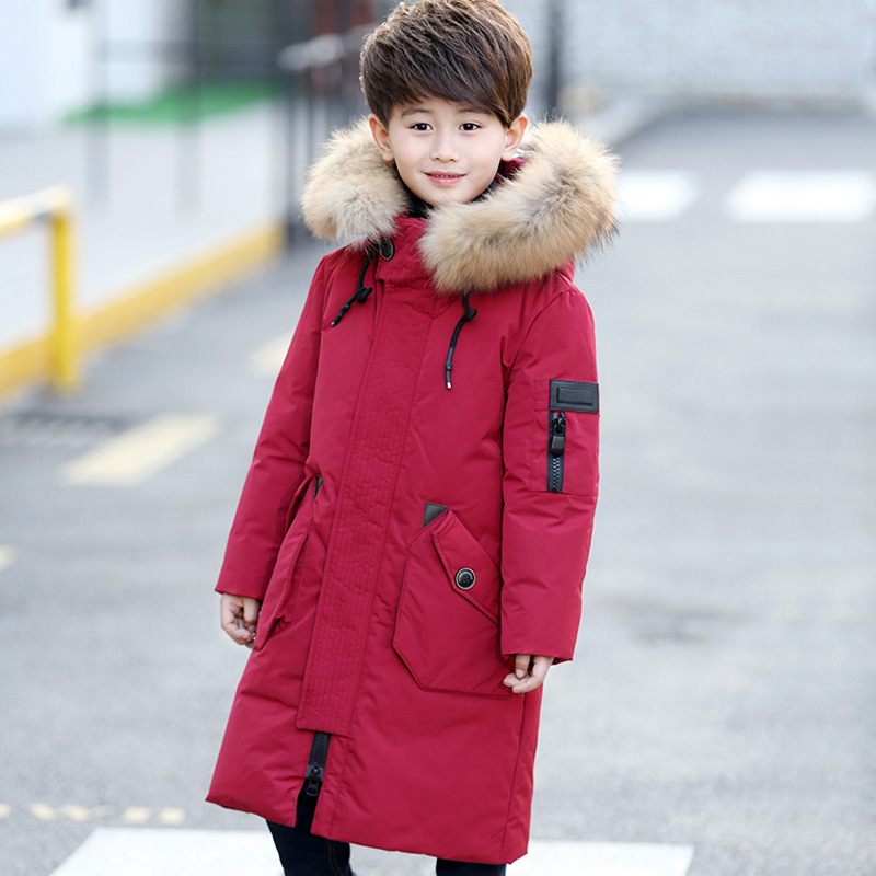 MIOIGEE  Boys Russia Cold  Warm Duck Down Jackets Winter Thickening Children Big Fur Collar Coats Boy Long Section Down Jacket new 2017 winter baby thickening collar warm jacket children s down jacket boys and girls short thick jacket for cold 30 degree