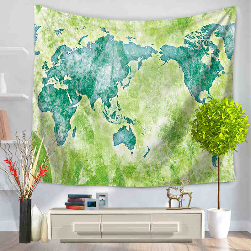 Senisaihon Mandala Tapestry Colored World Map Printed Wall Hanging Tapestries Bedspread Beach towel Yoga Mat Blanket 150*200cm