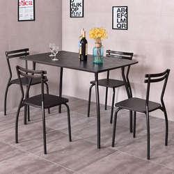 Giantex 5 шт набор столовой стол и 4 стула Современный дом кухня комната мебель для завтрака деревянный обеденный столик набор HW54170