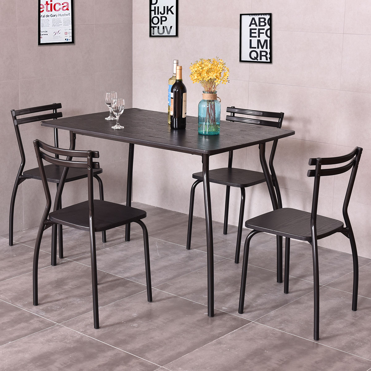 Giantex 5 Piece Dining Set Table and 4 Chairs Modern Home Kitchen Room Breakfast Furniture Wood Dining Table Set HW54170