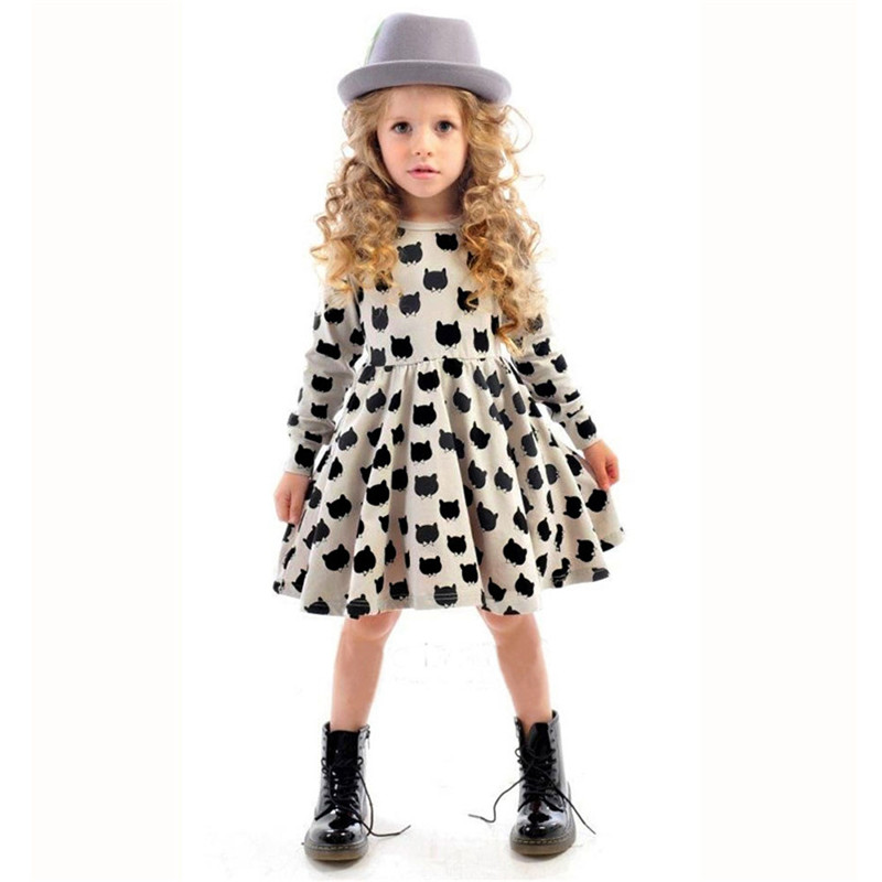 Baby Girl Autumn Dress Children Black Cat Long Sleeve Clothes Kids Casual Cotton Dot Clothing Autumn Princess Girls Dresses fashion 2016 new autumn girls dress cartoon kids dresses long sleeve princess girl clothes for 2 7y children party striped dress