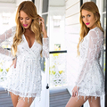 2017 Sexy Deep V Neck Low Cut Sequined Playsuits Low Cut Full Sleeved Lanton Sleeve Rompers Mini Night Club Jumpsuits