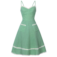Sweet Vintage Women Daisy Applique Pockets Slip Dress Fashion Backless Spaghetti Strap Lace Green Casual Summer