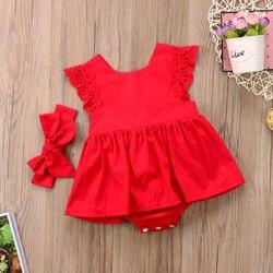 Nova chegada 2 pçs flor vermelha roupas do bebê recém-nascido meninas rendas sem costas macacão vestido roupas 0-24m