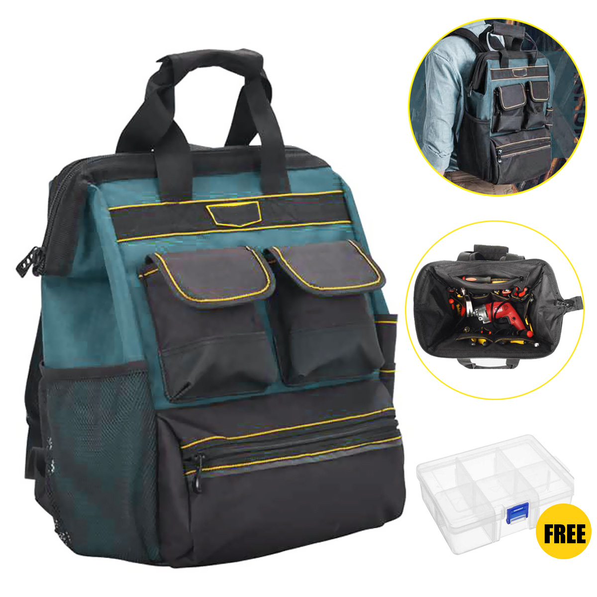 21 Pockets Oxford Cloth Double Shoulder Electrician Tool Backpack High-density Multifunction Large Capacity Maintenance Tool Bag 27 bags large capacity electrician oxford tools bag waterproof single shoulder multifunction repair thicken instrument case