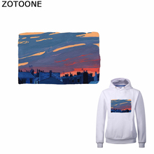 ZOTOONE Simple View Iron on Transfer Patches Sunset Patch for T-shirt Sweatshirt Funny Thermal Stickers Clothing Applications