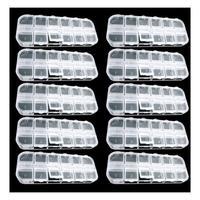 PHFU 10 Pcs 12 Empty Divided Plastic Box Case Set Nail Art Decoration Rhinestone New