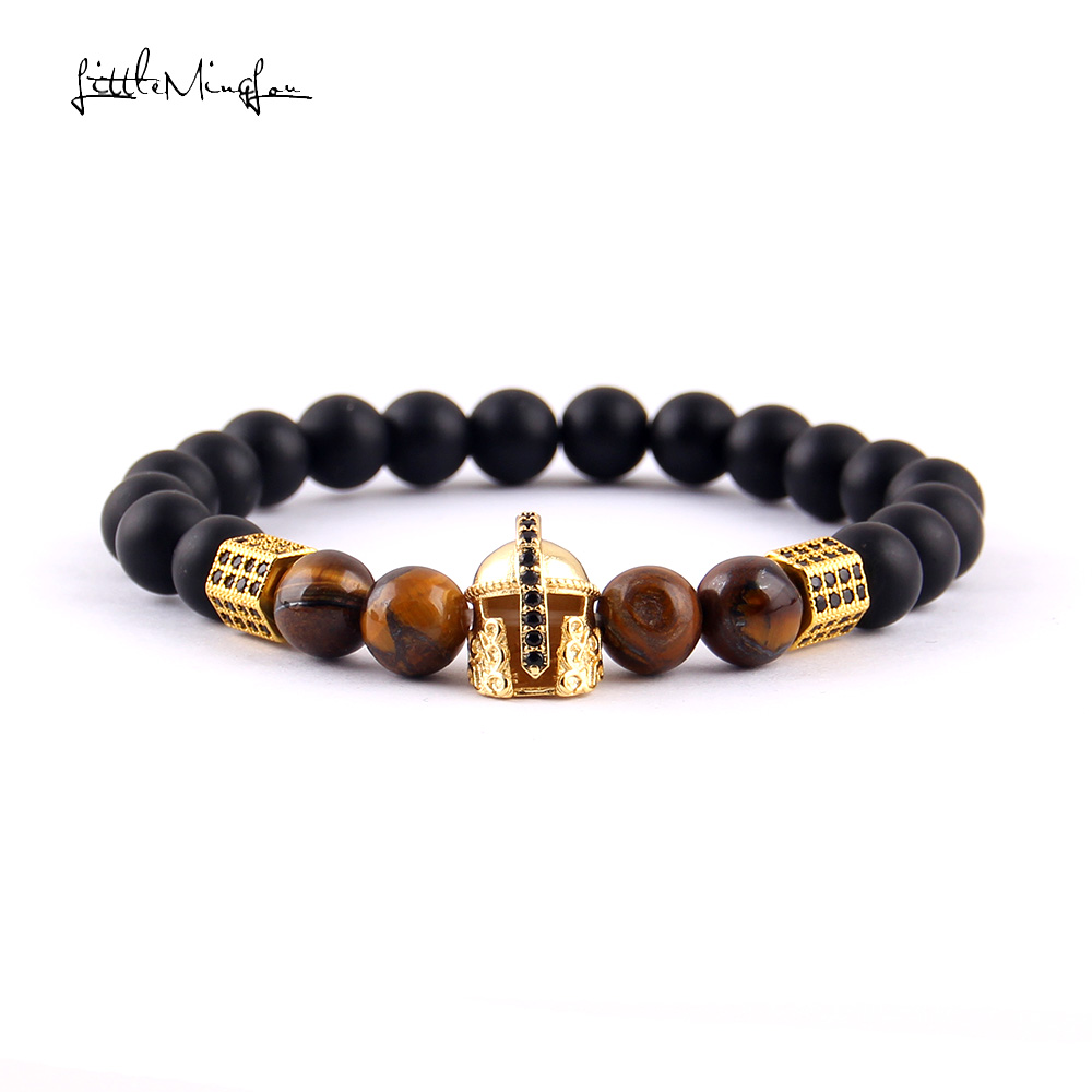 Little MingLou 8mm bead Men Bracelet Luxury Pave black CZ Warrior Helmet & Column for Bracelets & Bangles for men Jewelry