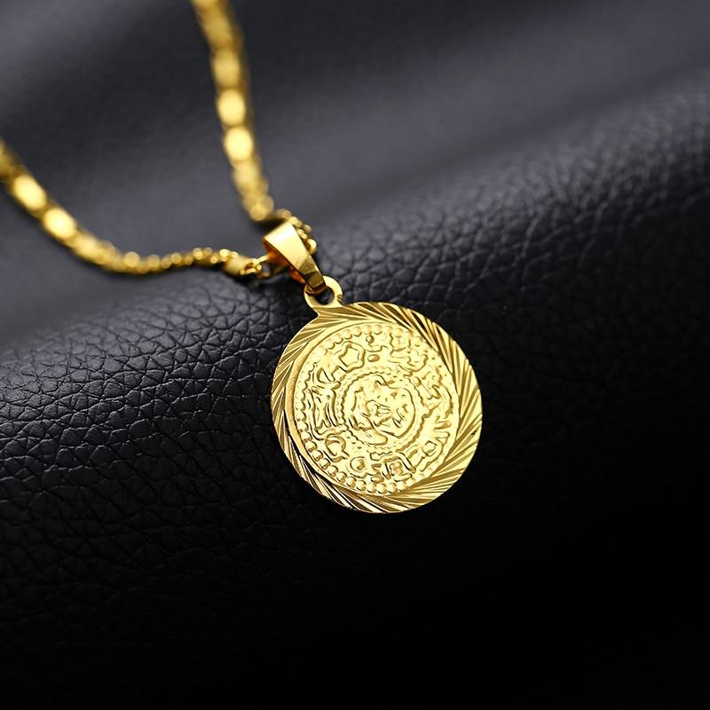 FäHig Islam Muslim Alte Münzen Anhänger Halsketten Gold Farbe Arabischen Geld Zeichen Kette Nahen Östlichen Münze Artikel Schmuck Geschenk
