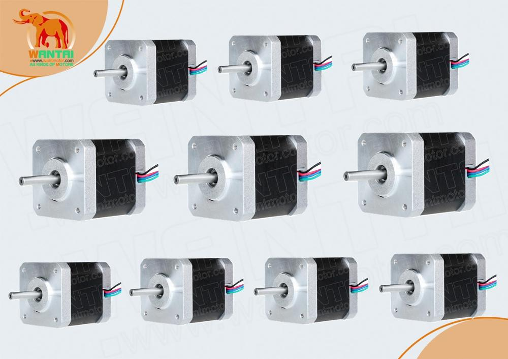USA, DE Ship & Free CE ROHS ISO10pcs Nema 17 wantai stepper motor 42BYGHW609 4000g.cm 1.7A Robot 3D Makebot Reprap Printer