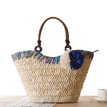 Miss ying 2017 verano estilo fresco bolsas de playa de las mujeres tejen paja de La Flor Bolsa de Hombro Famosa Marca de Alta Calidad de Viaje de Asas bolsas