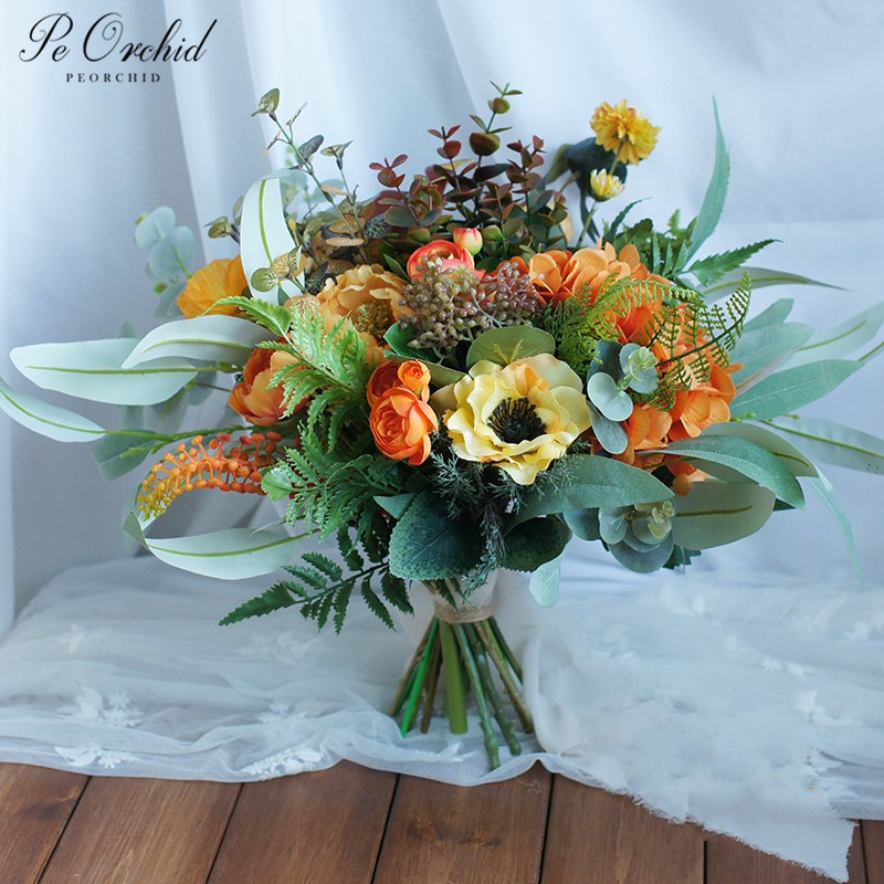 Rustic wedding bouquet for the Bridal artificial flowers bouquet for wedding. ramo xv yellow and hot blue wedding Bouquet