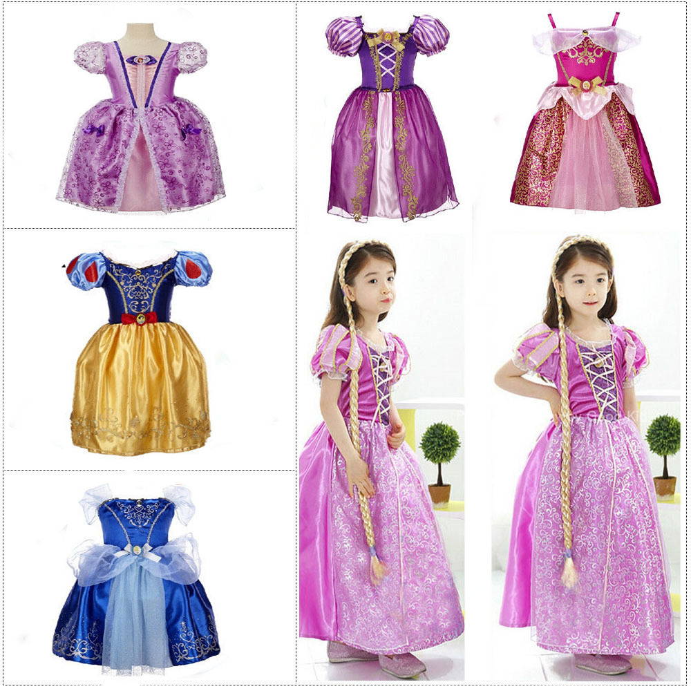 2015 New Movie Kids Fair Tale Girls Elsa Anna dress Kids Cosplay Costume Vestidos Cinderella Princess Party Performances Dress ohcos new 70cm long adult princess anna popular movie figure cosplay wig costume synthetic hair