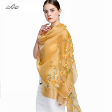 2017 New Luxury Elegant High-grade Cashmere Silk Women Scarves Female Fashion Solid Scarf Floral Embroidery Women's Shawl