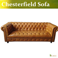 U BEST Simple European Style Neo Classical Leather Sofa 3 Seater Pull Buckle Sofa New Classic
