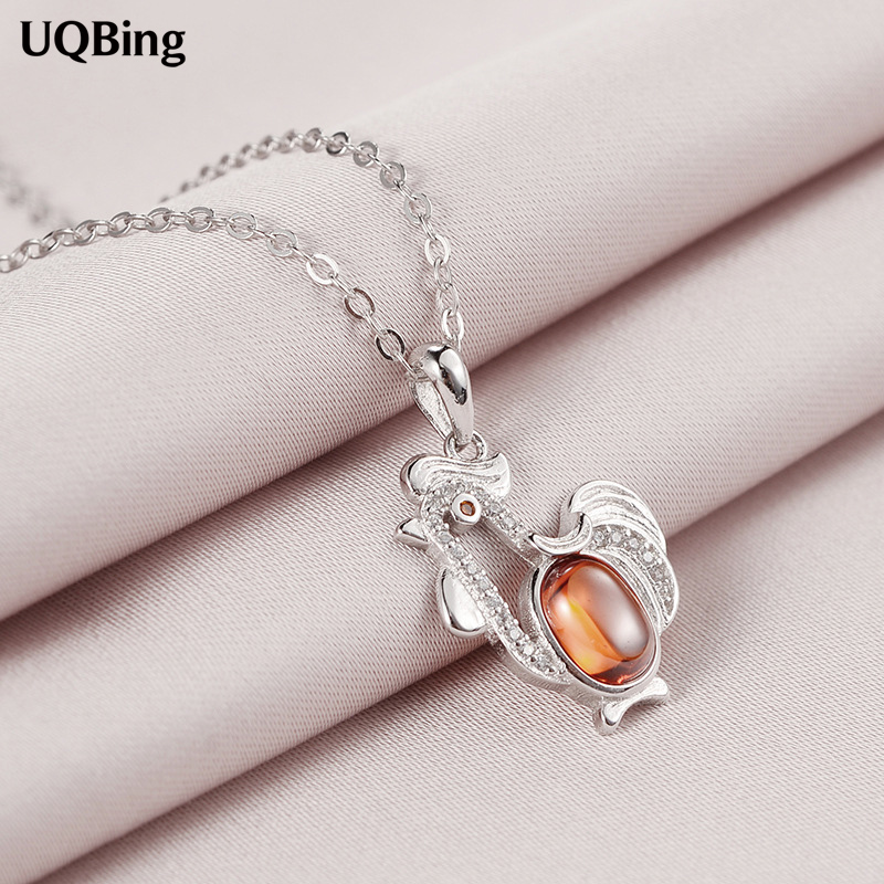 925 Sterling Silver Chain Necklaces font b Crystal b font Rhinestone Chicken Pendants Necklaces font b