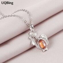 925 Sterling Silver Chain Necklaces Crystal Rhinestone Chicken Pendants&Necklaces Jewelry Collar Colar de Plata