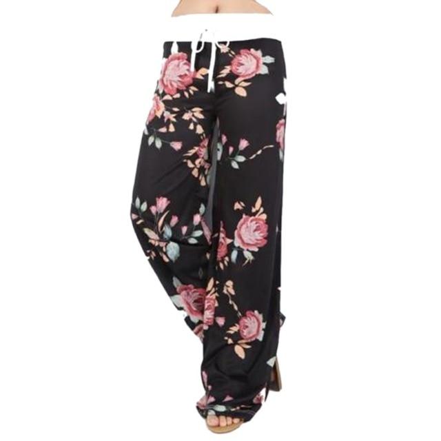 Femmes D Ete Large Jambe Pantalon Fleur Pantalon 2017 Vintage