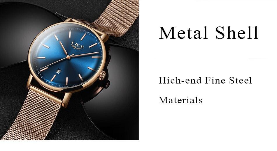 LIGE Women's Ultra-thin Watch Stainless Steel Waterproof Watch