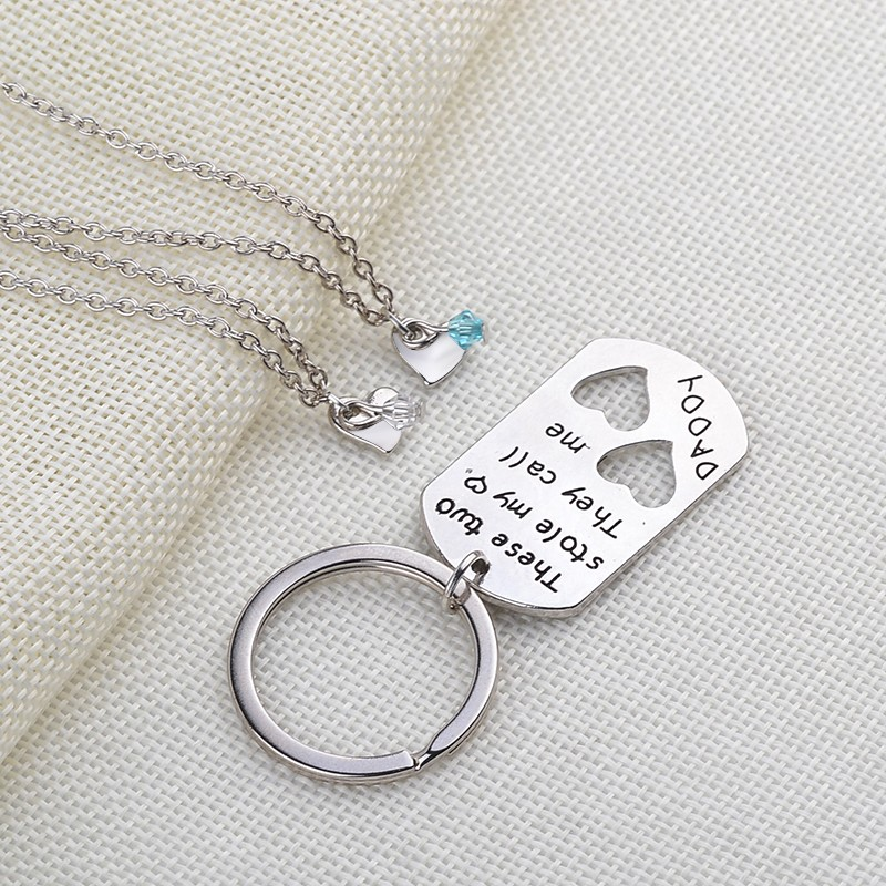 These Two Stole My Heart They Call <font><b>Me</b></font> Daddy dad <font><b>Lucky</b></font> Beads 3pcs/set children's necklaces daddy's keychain Father's Day gift