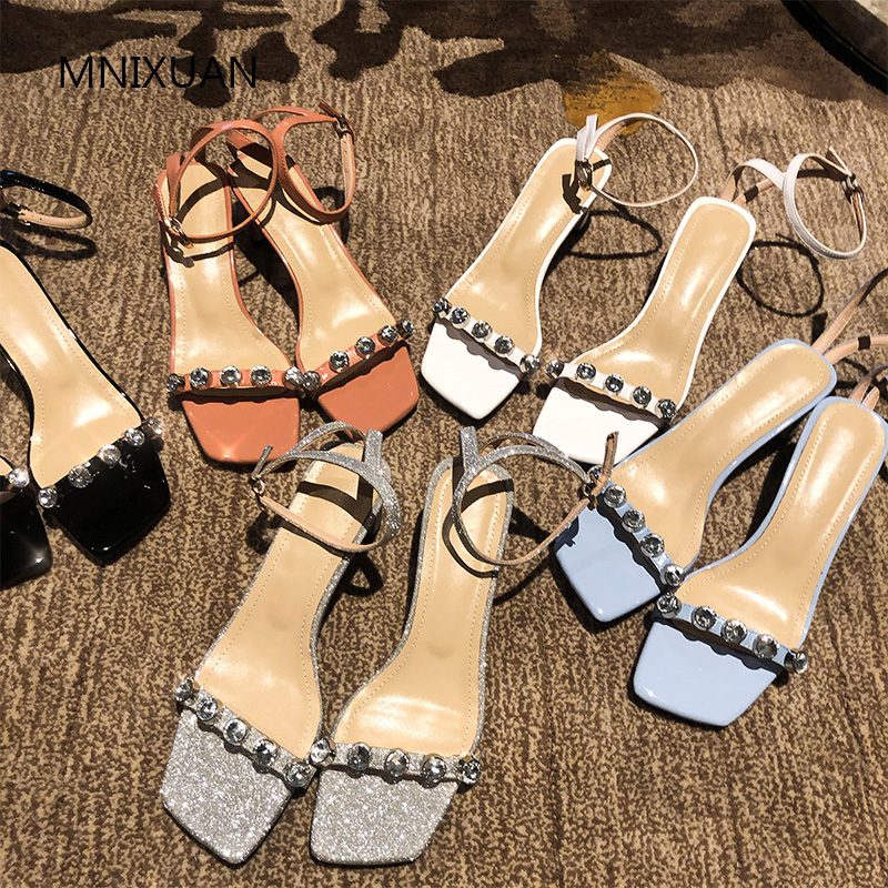 MNIXUAN Fashion summer luxury brands women shoes sandals high heels 2019 new patent leather square toe rhinestone big size 34 42-in High Heels from Shoes    1