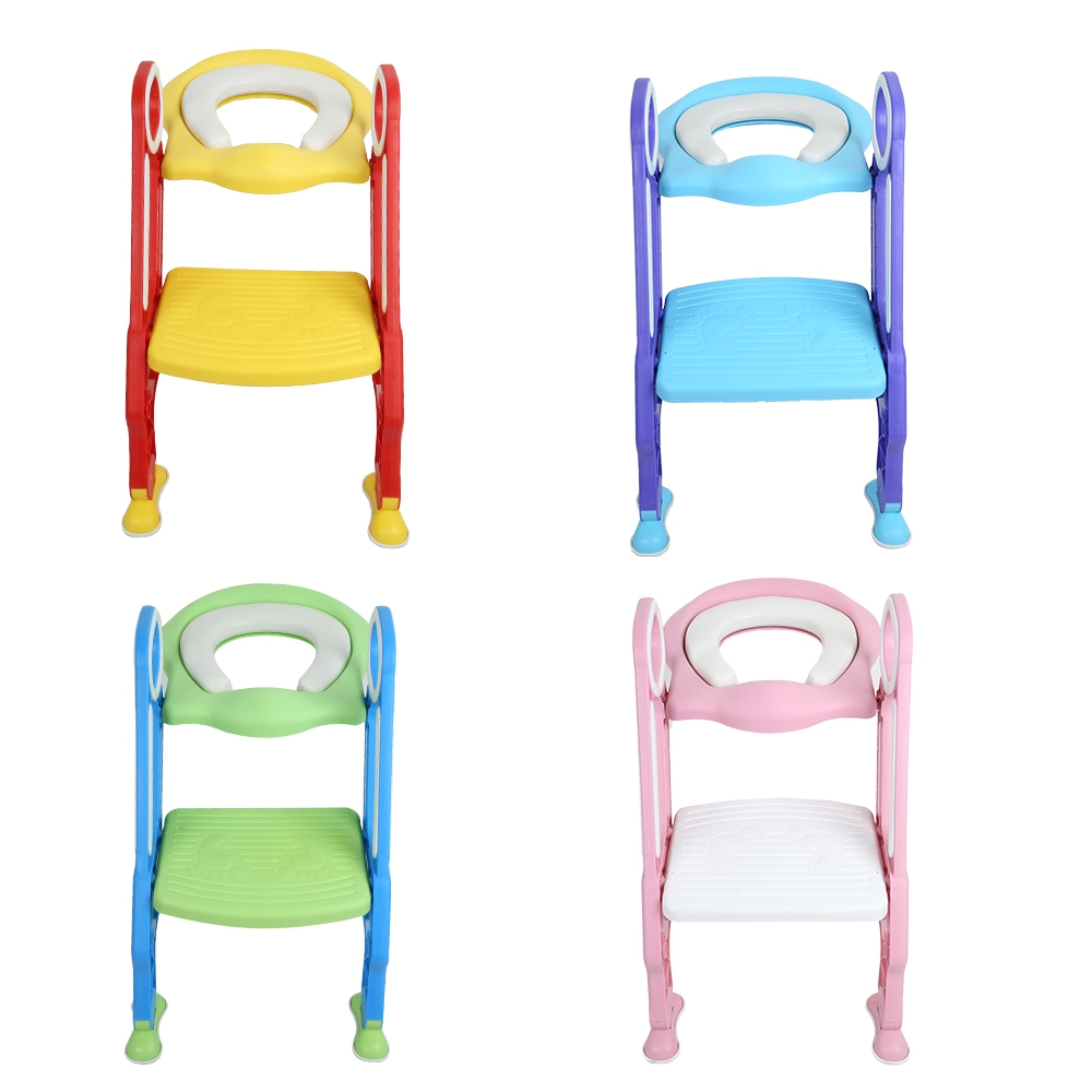 baby toilet seat baby folding potty trainer seat chair step with adjustable ladder child potty seat toilet with free brush Practical Baby Toilet Seat Folding Children Potty Chair Step Trainer with Adjustable Ladder Anti-splash Child Potty Seat Toilet