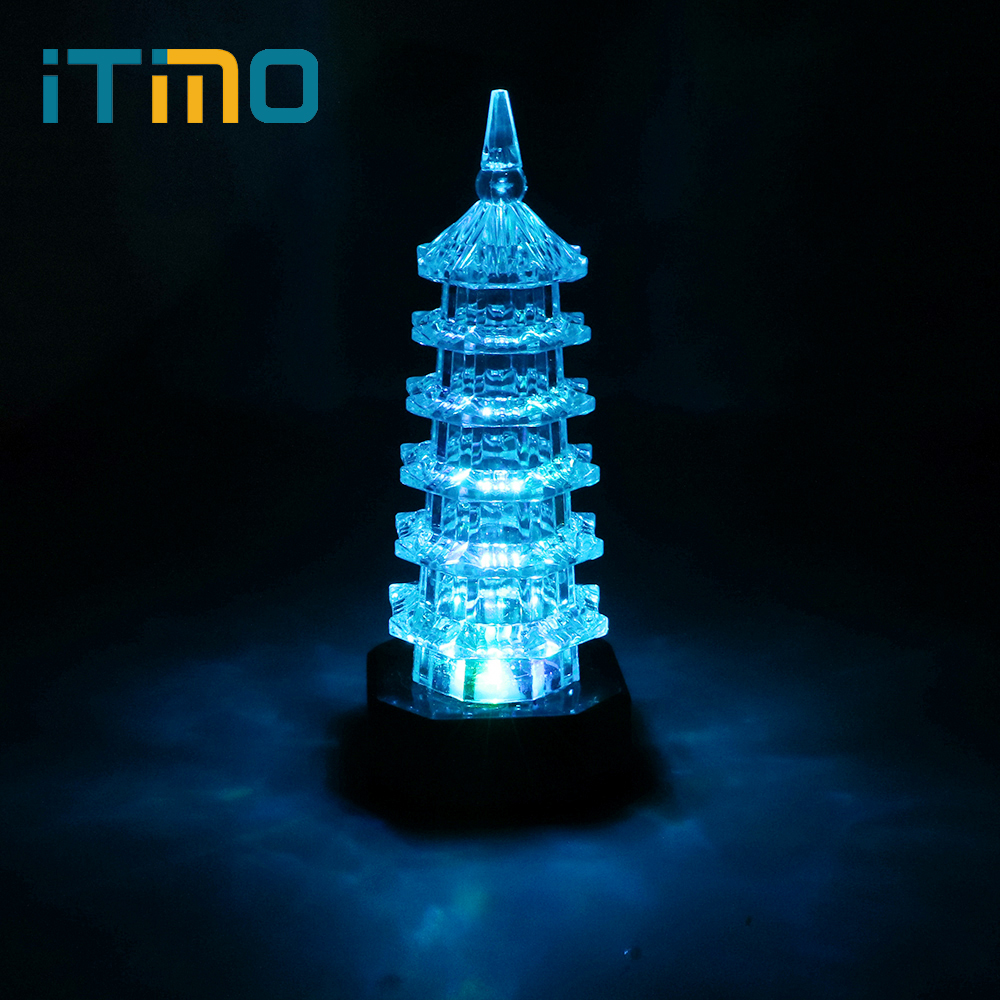 iTimo Colorful LED Night Light Tower Shape Room Decors Nightlight Baby Sleeping Night Lamp Bedroom Decoration Kids Bedside Light