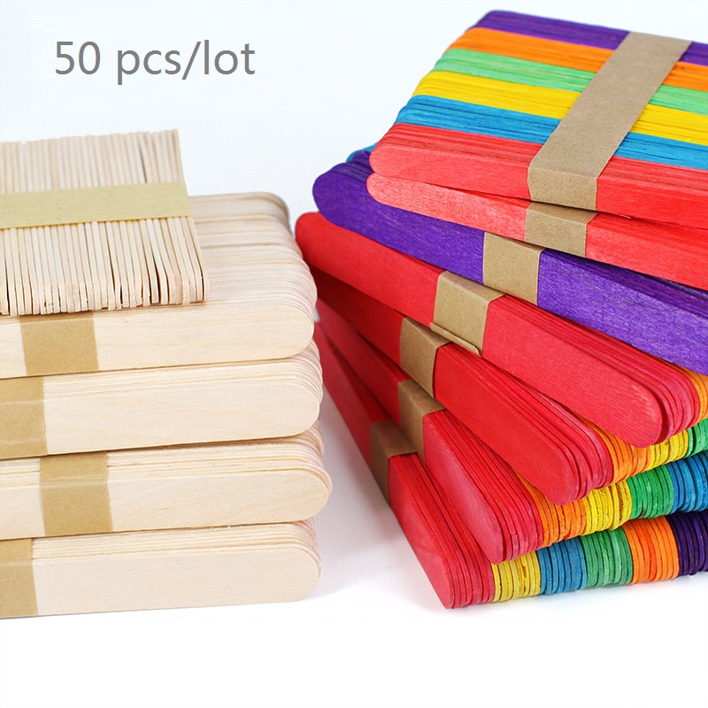 50Pcs/Lot Colored Wooden Popsicle Sticks Natural Wood Ice Cream Sticks Kids DIY Hand Crafts Math Toys Ice Lolly Tools