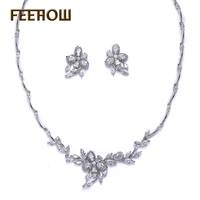 FEEROW Beautiful Flower Leaf Cluster Jewelry Set Top Quality Marquise Cubic Zirconia Necklace Earrings Set For