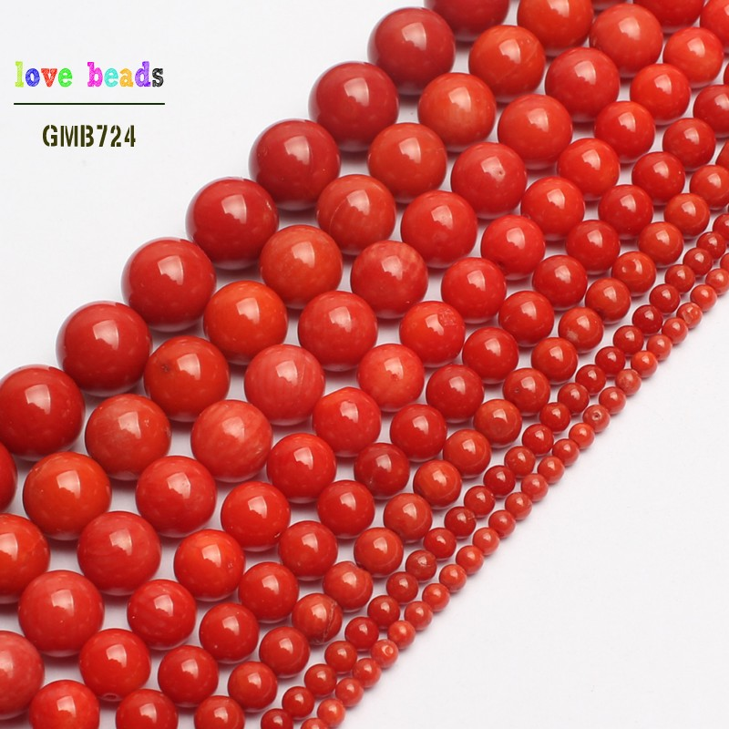AAA Natural <font><b>Red</b></font> <font><b>Coral</b></font> Round Spacer Loose Beads for Jewelry Making Beaded Bracelet DIY Jewelry 15