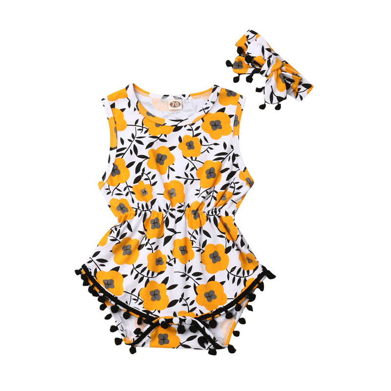 Focusnorm Newborn Baby Girl   Romper   Floral Sassy   Romper   Jumpsuit Headband 2PCS Outfit Clothes Summer