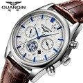 Top Relojes de Marca de Lujo GUANQIN Reloj de Cuarzo de Moda de Negocios Correa de Cuero Relojes Deportivos Hombres Impermeable relogio masculino
