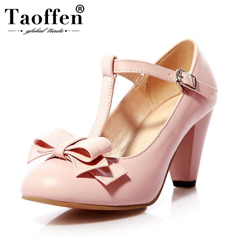 TAOFFEN 4 Colors Size 31-43 Sexy Women Bowknot High Heel Shoes Women Bowtie T Strap Thick Heels Pumps Party Club Women FootwearTAOFFEN 4 Colors Size 31-43 Sexy Women Bowknot High Heel Shoes Women Bowtie T Strap Thick Heels Pumps Party Club Women Footwear