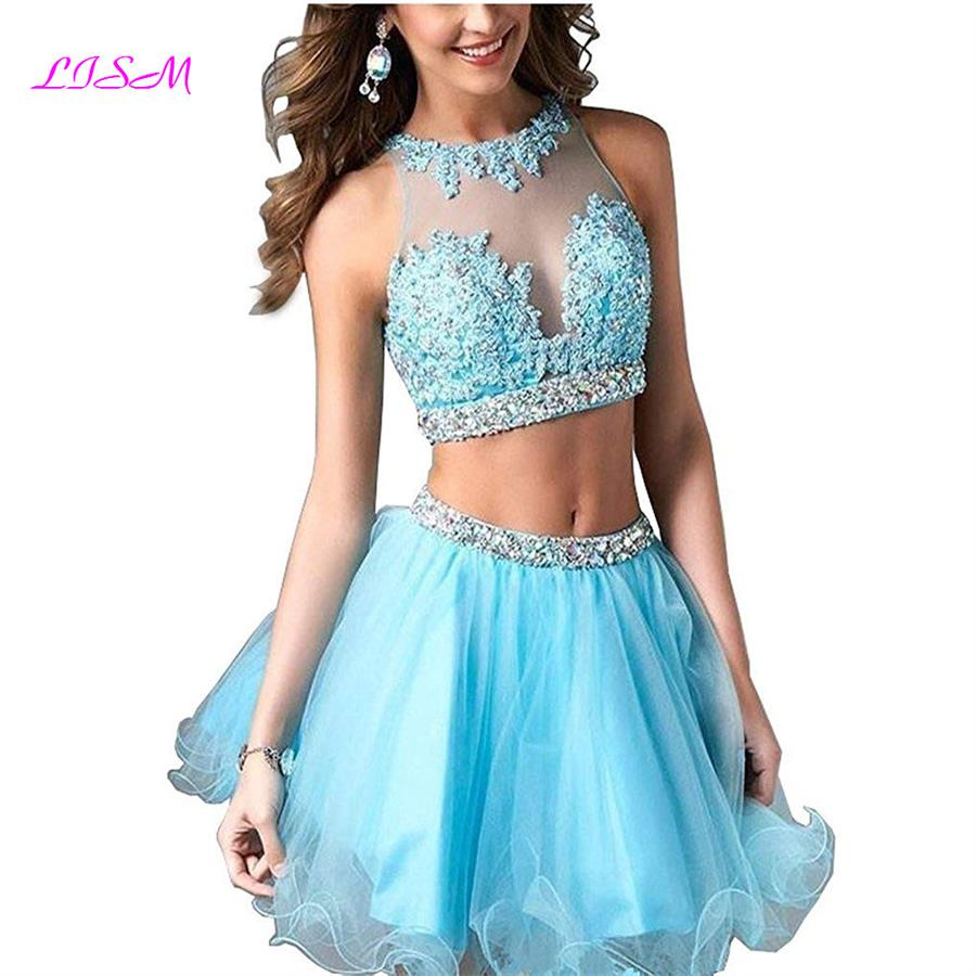 Sky Blue Mini Graduation Dresses Plus Size Organza Short Prom Gowns Appliques Beaded Juniors Homecoming Dress Spodnica Tiulowa